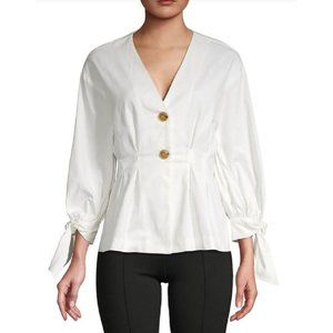 Zara Button Front Pleated Puff Sleeve Top White S